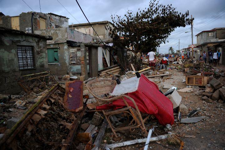 More flood damage in Cojimar, Havana.