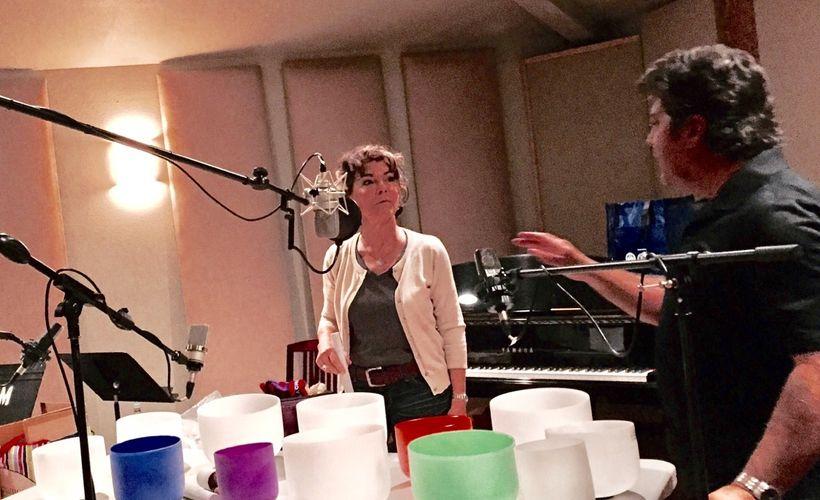 Flicka in studio recording <em>Chakra Soundscapes</em> CD.