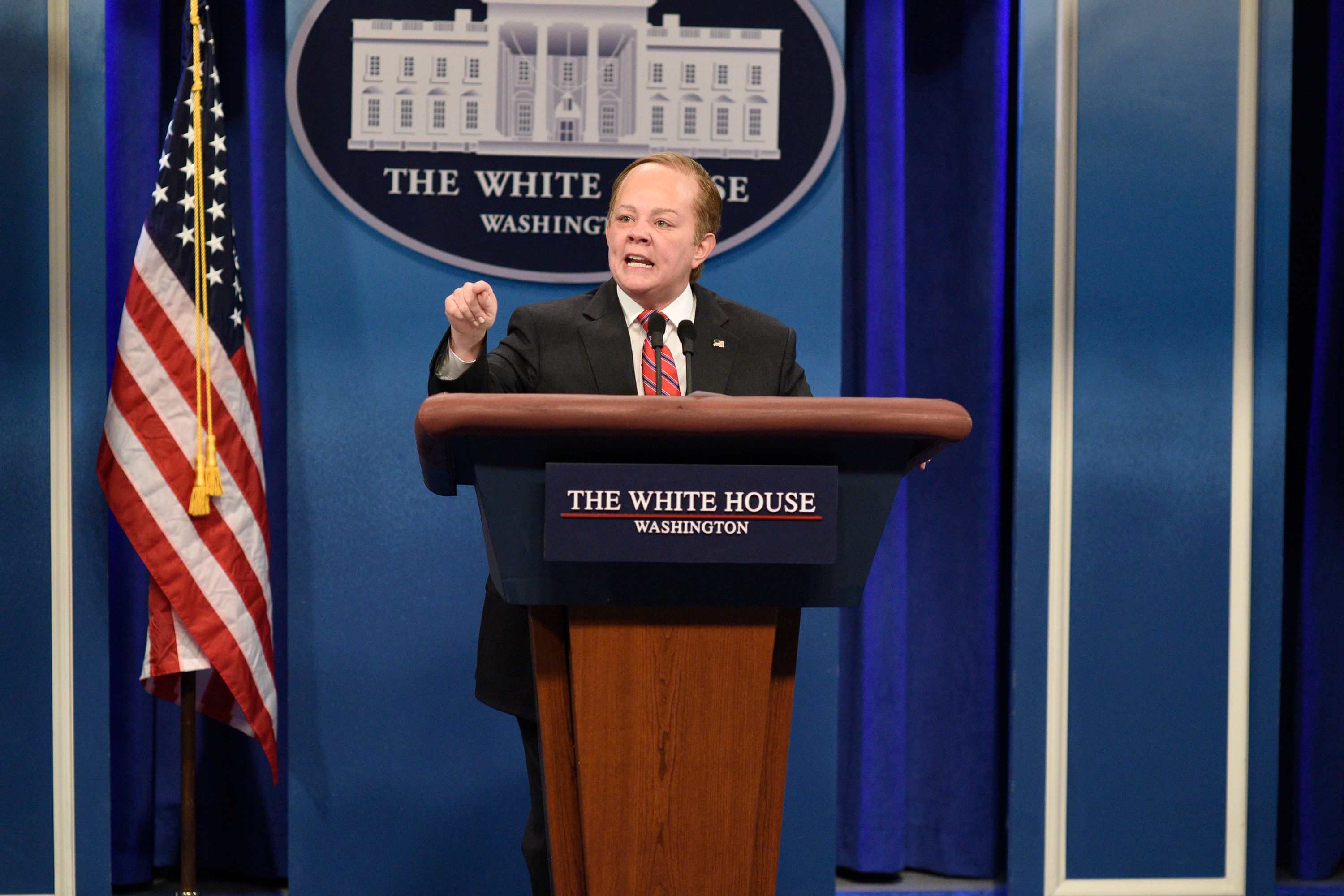 SATURDAY NIGHT LIVE -- 'Melissa McCarthy' Episode 1724 -- Pictured: Melissa McCarthy as White House Press Secretary Sean Spicer during 'Spicer Returns' in Studio 8H on May 13, 2017 -- (Photo by: Will Heath/NBC/NBCU Photo Bank via Getty Images)