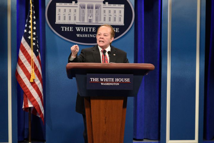 "Melissa McCarthy impersonates White House press secretary Sean Spicer during ""Saturday Night Live's"" 42nd season."