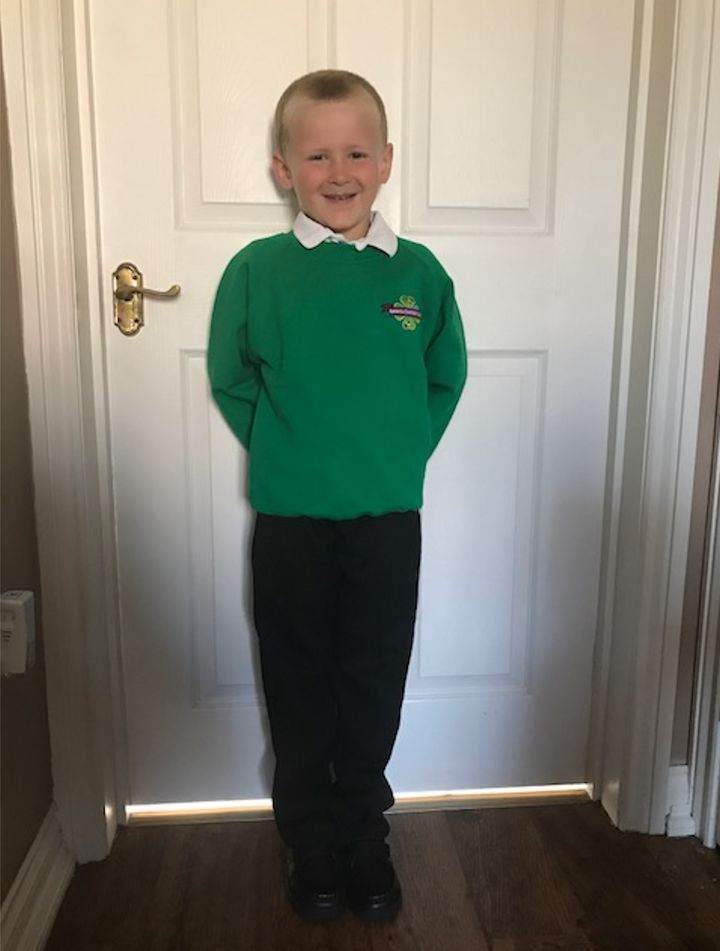 Helen Barley's son, Sam, on his first day of school.