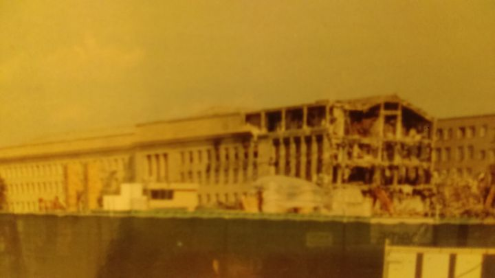 This is a picture of the author's personal photo of the plane crash into the Pentagon.