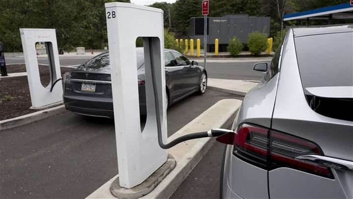 An electric vehicle charging station in Darien, Connecticut. Connecticut is one of eight states that have set a target of put
