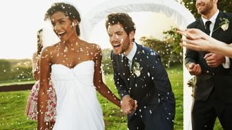 Cropped shot of a elated bride and groom