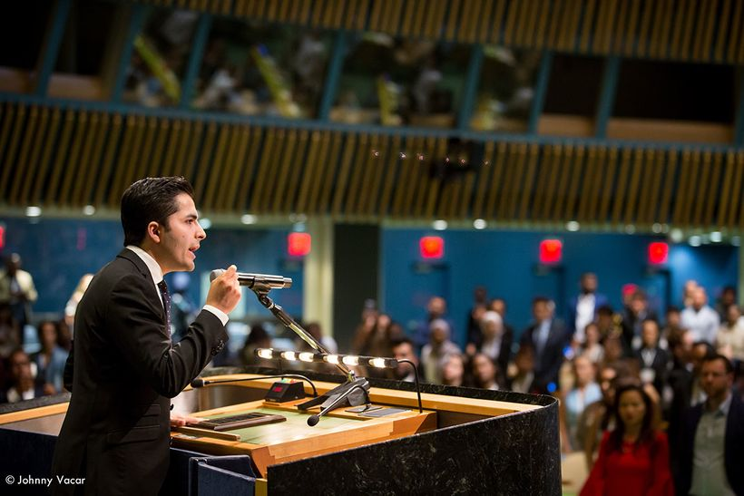 <em>Pamir Ehsas, one of the Outstanding Youth Delegate of the 2017 Summer Youth Assembly, delivers his speech during the Clos