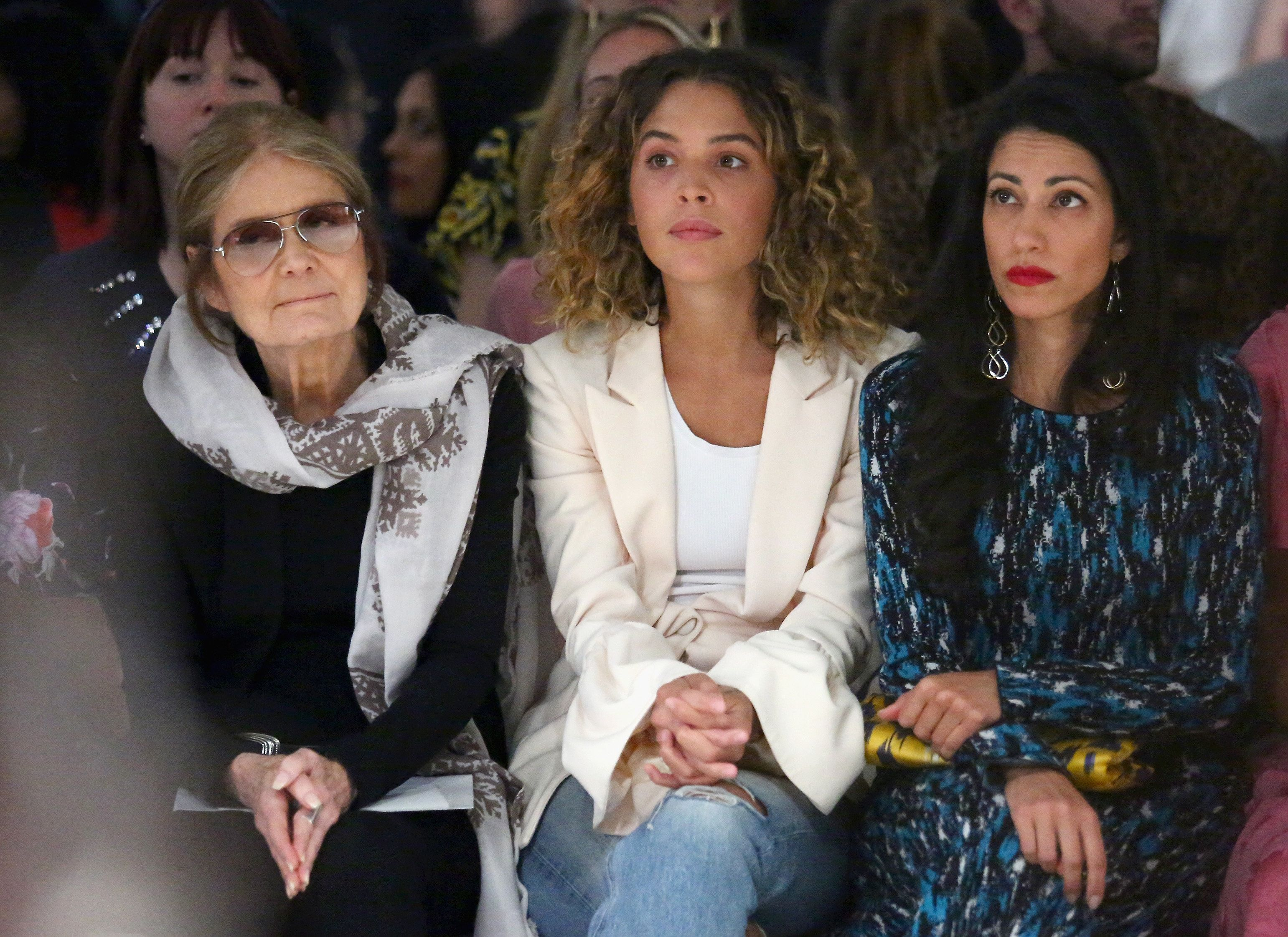 Gloria Steinem, Cleo Wade and Huma Abedin attend Prabal Gurung fashion show during New York Fashion Week, September 10, 2017.