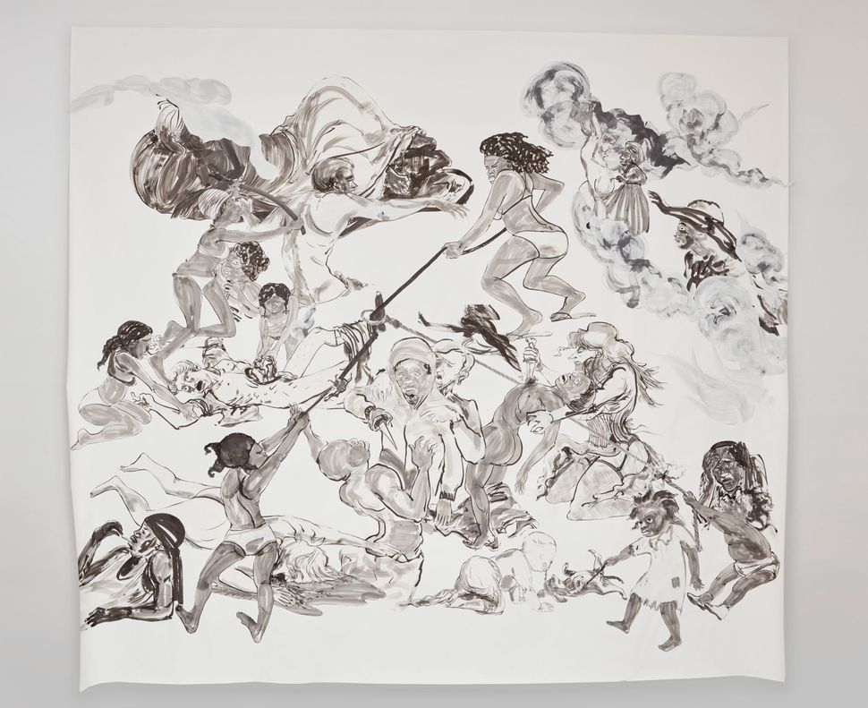"Kara Walker, ""The Pool Party of Sardanapalus (after Delacroix, Kienholz),"" 2017, Sumi ink and collage on paper, 126.5 by 140"