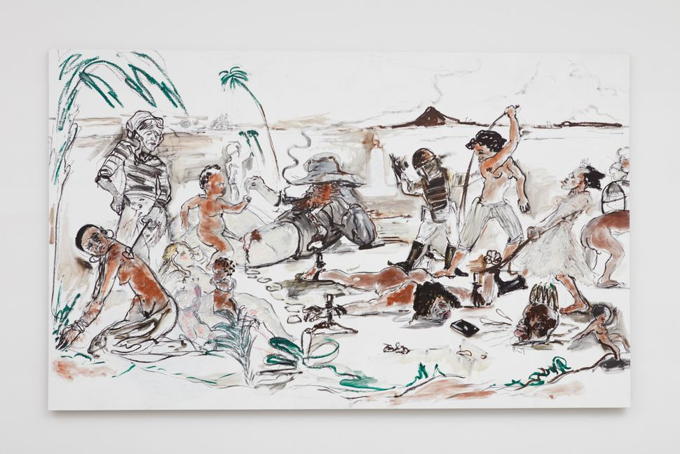 "Kara Walker, ""Brand X (Slave Market Painting),"" 2017. Oil stick on canvas, 125 by 127.5 inches."