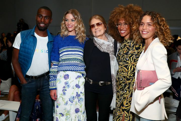 DeRay Mckesson, Jaime King, Gloria Steinem, Elaine Welteroth and Cleo Wade attend Prabal Gurung fashion show during New York