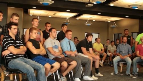 Football players-only meeting at the beginning of pre-season for Smart Teams documentary.