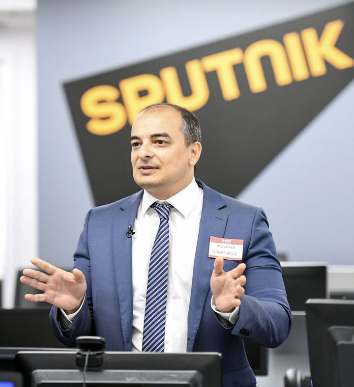Mindia Gavasheli, Sputnik's U.S. editor-in-chief, holds a press conference in the agency's newsroom in Washington.