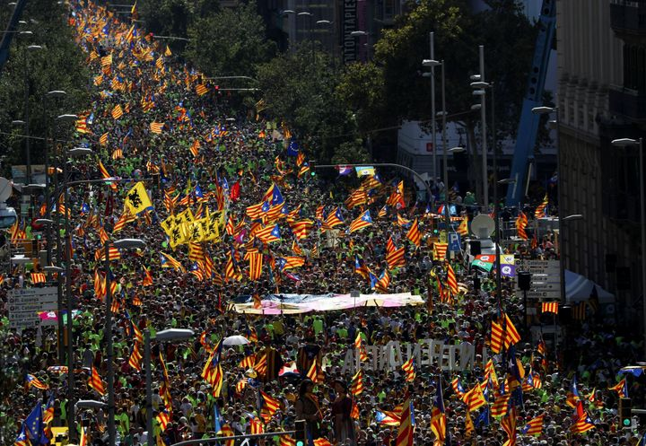 Thousands of people gather for a rally on the regional national day 'La Diada' (National Day of Catalonia) in Barcelona, Spai