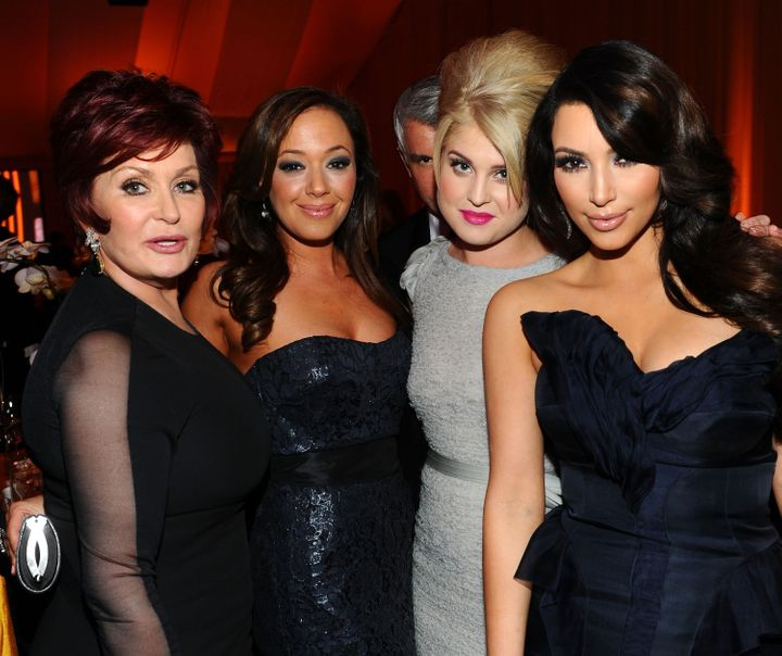 Sharon Osbourne, Leah Remini, Kelly Osbourne and Kim Kardashian pose together at the 19th Annual Elton John AIDS Foundation i