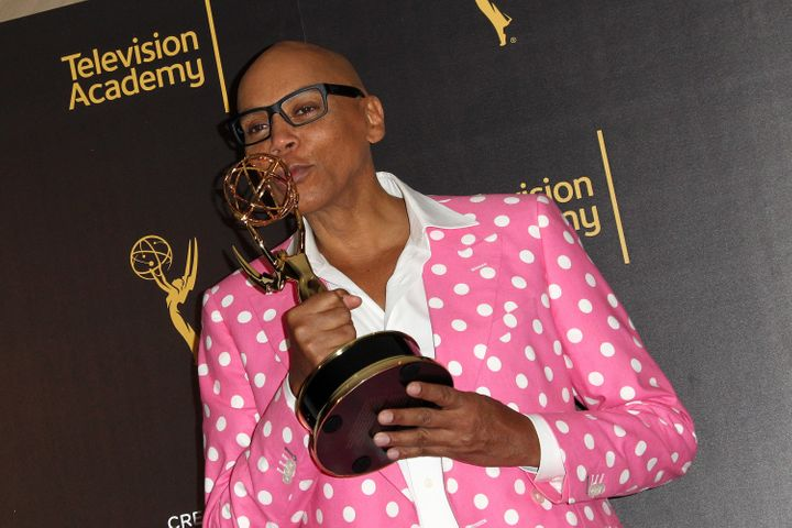 """RuPaul after winning the 2016 Emmy for """"Outstanding Host of a Variety, Nonfiction Or Reality Program."""""""