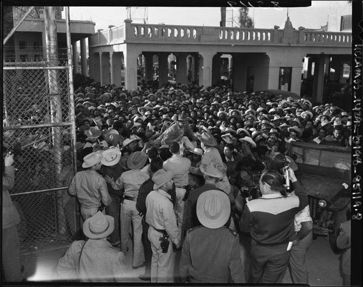 The Braceros workers came legally to work in the US during World War II. Here, a group of Braceros crossing the border at Mex