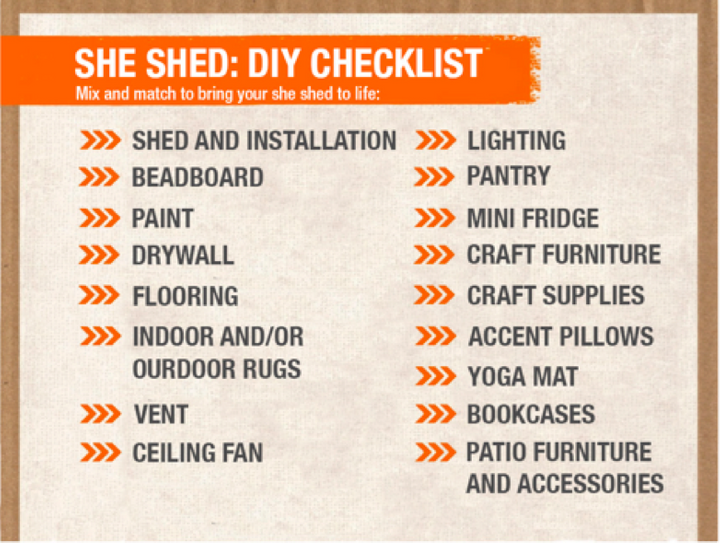 "<em>""She shed"" filler suggestions from the Home Depot website</em>"