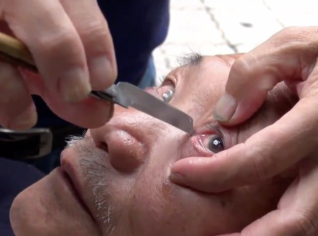 This Eyeball Shaving Barber Is Too Cutting-Edge For