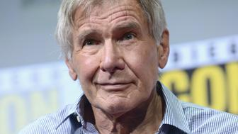 SAN DIEGO, CA - JULY 22:  Actor Harrison Ford attends the Warner Bros. Pictures 'Blade Runner 2049' Presentation during Comic-Con International 2017 at San Diego Convention Center on July 22, 2017 in San Diego, California.  (Photo by Albert L. Ortega/Getty Images)