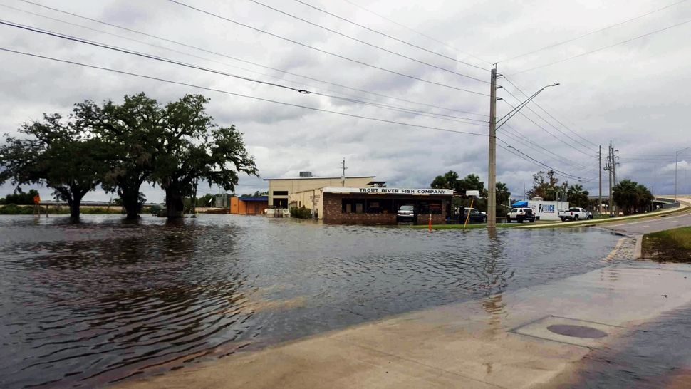 Water fills the streets near Jacksonville's Trout River Fish Co.