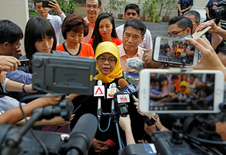 Halimah Yacob, speaks to the media at the Elections Departmentin Singapore September 11, 2017.