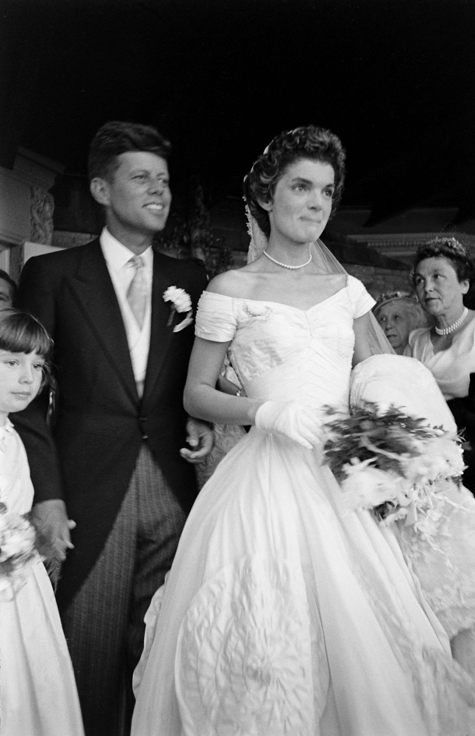Future Us President John F Kennedy 1917 1963 And Jacqueline 1929 1994 In A Battenburg Wedding Dress Stand Front Of St Mary S Church