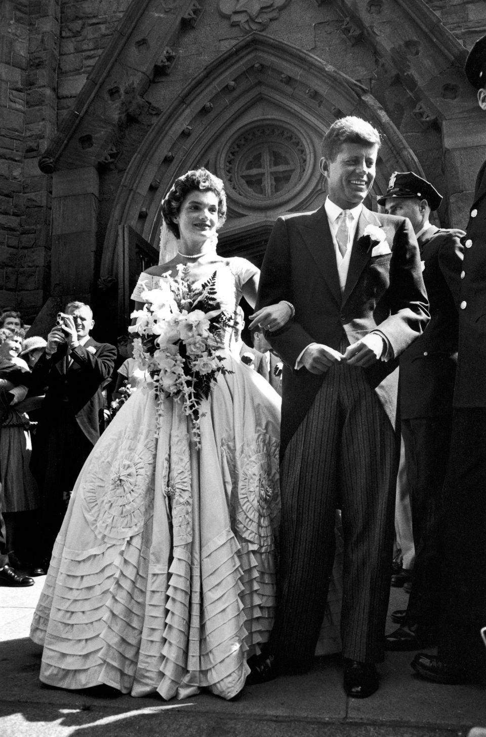 Jacqueline Bouvier In Gorgeous Battenburg Wedding Dress W Her Husband Sen John Kennedy As They Stand Front Of Church After Ceremony