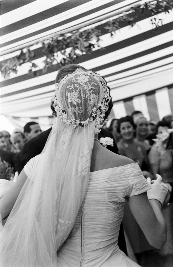 Must see photos from john f kennedy and jackie kennedys wedding view from behind of jacqueline kennedy 1929 1994 in a battenburg wedding junglespirit Choice Image