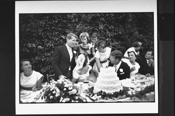 Sen. John F. Kennedy with his bride Jacqueline at their wedding reception. (Photo by Lisa Larsen//Time Life Pictures/Getty Im