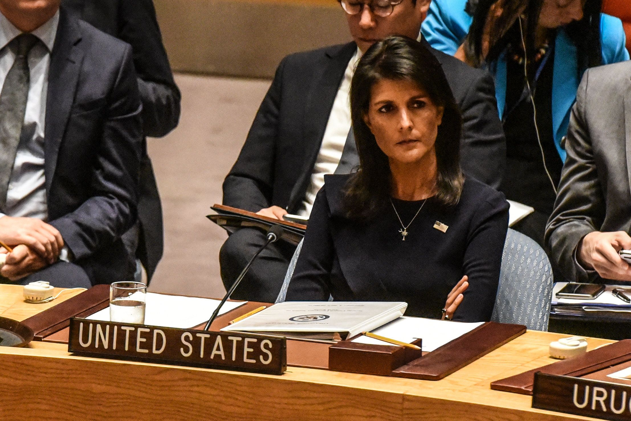 NEW YORK, NY - SEPTEMBER 4:  Ambassador to the UN, Nikki Haley, listens to remarks during a United Nations Security Council meeting on North Korea on September 4, 2017 in New York City. The securty council was holding its second emergency meeting in a week after North Korea announced the detonation of what it called an underground  hydrogen bomb September 3.  (Photo by Stephanie Keith/Getty Images)