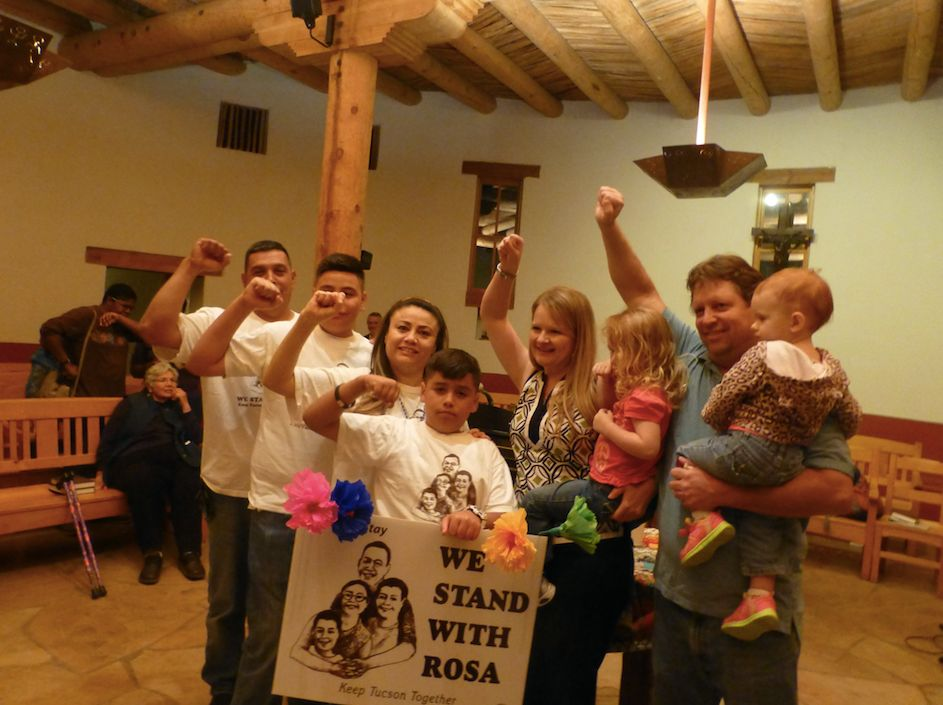 Rev. Alison Harrington and her family (right) with the family of Rosa Robles Loreto, an undocumented immigrant