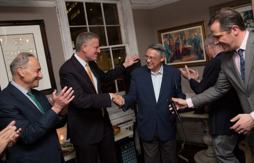 Mayor de Blasio and Chuck Schumer at the retirement party for Juan Gonzalez