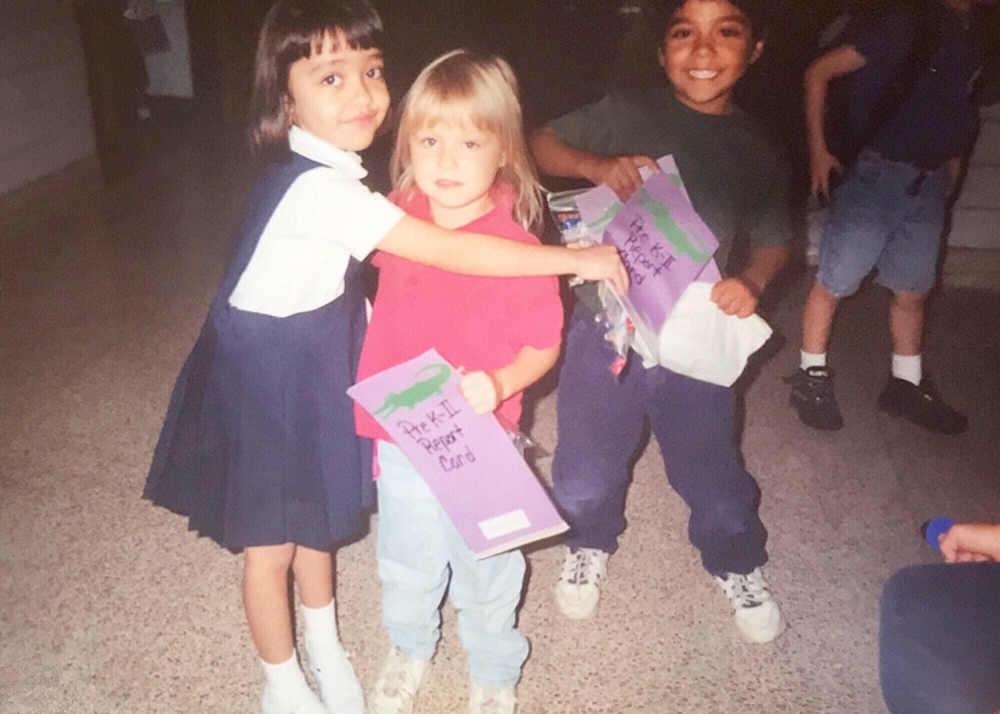 Karla Perez on her last day of pre-K with her first school friend.
