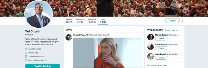 A screenshot showing a porn video liked by Sen. Ted Cruz (R-Texas), or whoever had access to his Twitter account.