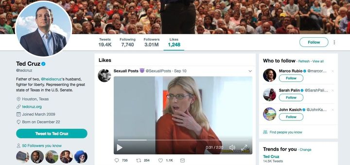 """A screenshot showing a """"like"""" in Ted Cruz's Twitter account for a porn video."""