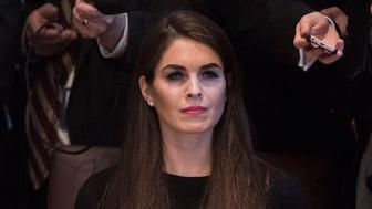 WASHINGTON, DC - FEBRUARY 13: White House Director of Strategic Communications Hope Hicks listens as President Donald Trump and Canadian Prime Minister Justin Trudeau host a meeting with women business leaders in the Cabinet Room of the White House in Washington, DC on Monday, Feb. 13, 2017. (Photo by Jabin Botsford/The Washington Post via Getty Images)