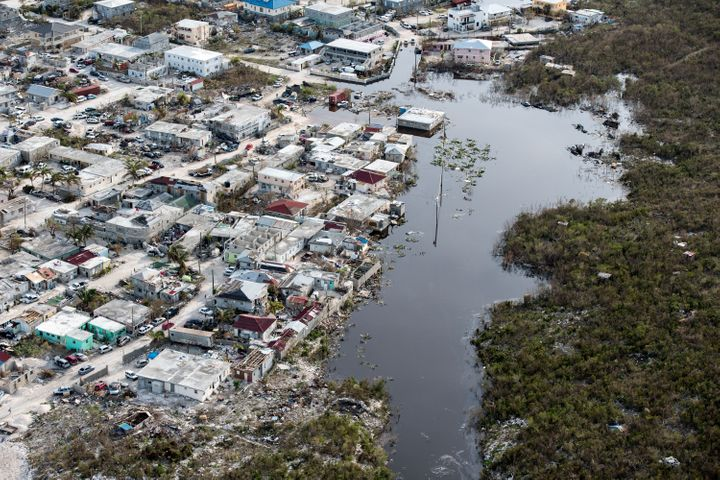 An aerial view on Sept. 11 shows flooding and damage after Hurricane Irma passed over Providenciales on the Turks and Caicos islands.