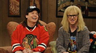 SATURDAY NIGHT LIVE -- 'Dana Carvey' Episode 1590 -- Pictured: (l-r) Mike Myers, Dana Carvey  (Photo by Dana Edelson/NBC/NBCU Photo Bank via Getty Images)