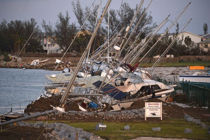 Damaged sail boats are shown in the aftermath of Hurricane Irma on Mondayin Key West, Florida.