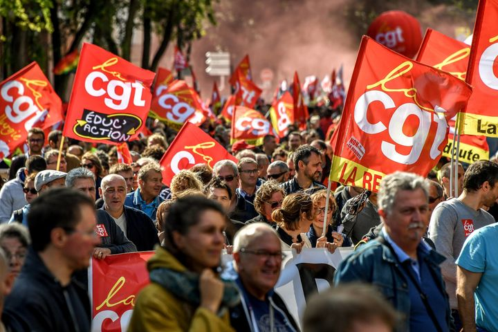 People take part in a demonstration called by several French unions against the labour law reform in Lille, on September 12,