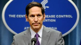 Centers for Disease Control and Prevention (CDC) Director, Dr. Thomas Frieden, speaks at the CDC headquarters in Atlanta, Georgia September 30, 2014. U.S. health officials said on Tuesday the first patient infected with the deadly Ebola virus had been diagnosed in the country after flying from Liberia to Texas, in a new sign of how the outbreak ravaging West Africa can spread globally. The patient sought treatment six days after arriving in Texas on Sept. 20, Frieden told reporters on Tuesday. He was admitted two days later to an isolation room at Texas Health Presbyterian Hospital in Dallas.  REUTERS/Tami Chappell  (UNITED STATES - Tags: HEALTH)