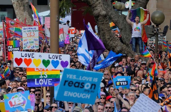 Organizers said Sunday's gathering was Australia's largest LGBTQ rights demonstration.