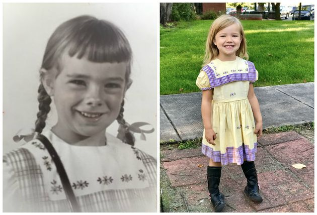 Jenny Hirt's 4-year-old daughter, Caroline Hirt (right), wore the dress this year for her first day of...