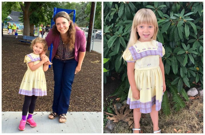 Jenny's oldest daughter, 6-year-old Ally (left), was the 17th person to wear the dress. Her niece, Sylvie Johnson (right), wa