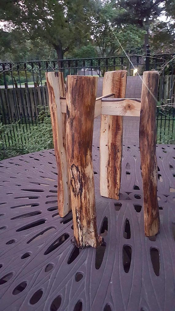 "For your indoor evergreens. <a href=""https://www.etsy.com/listing/468276207/spalted-solid-wood-plant-stand-rustic"" target=""_b"