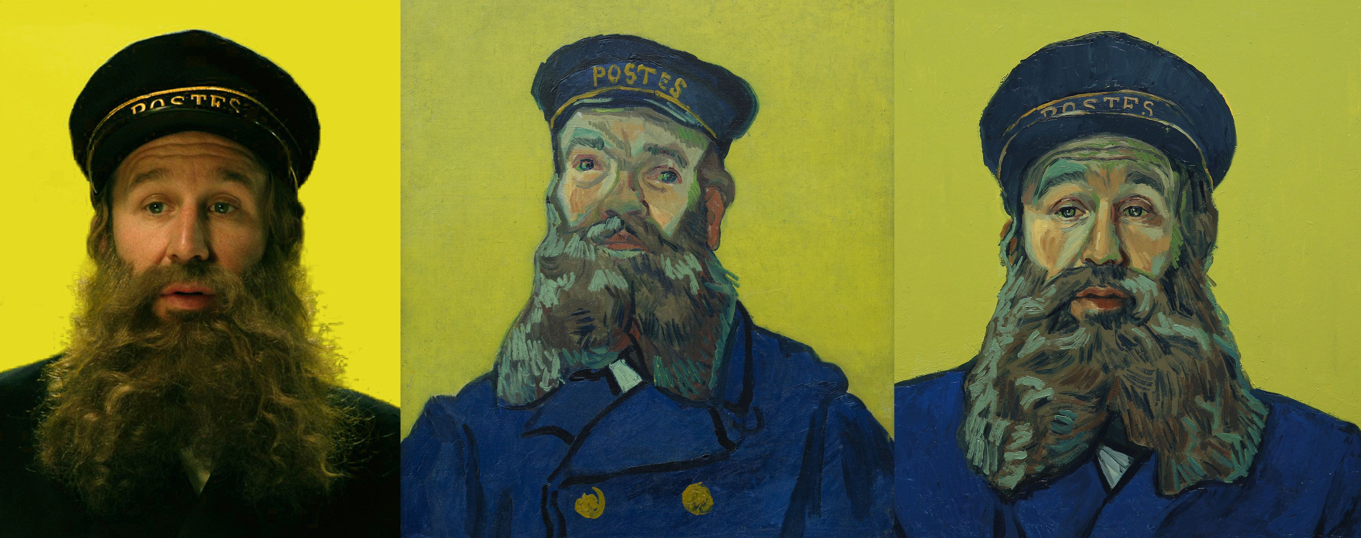 "Chris O'Dowd as Postman Roulin in ""Loving Vincent."" In the film, the postman sends his son, Armand Roulin, on a quest t"