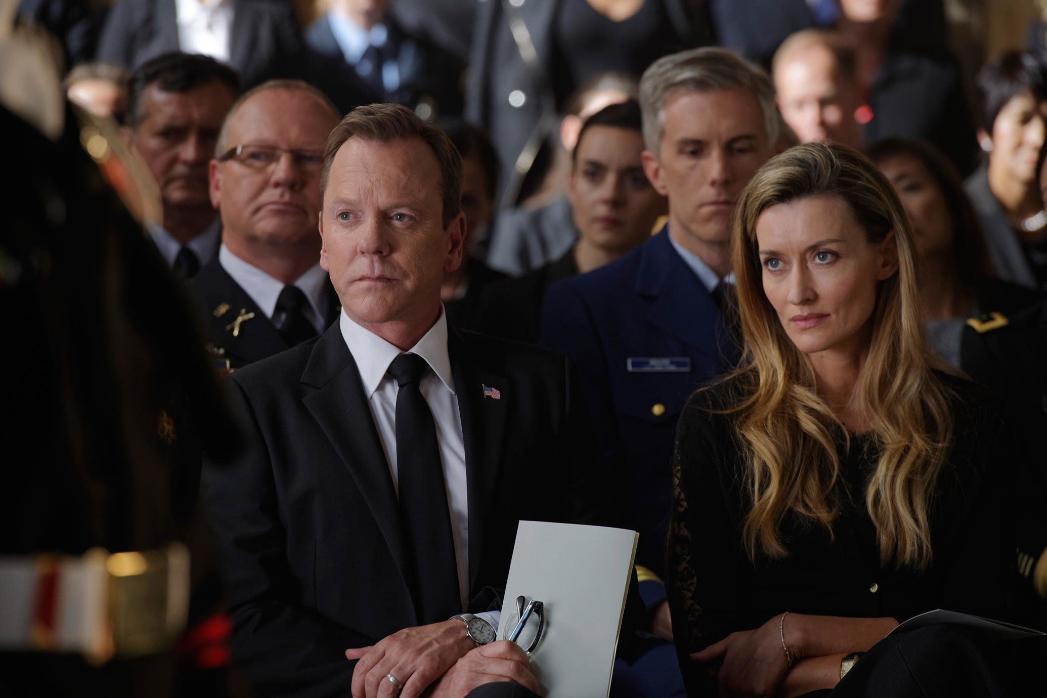"Kiefer Sutherland and Natascha McElhone as the president and first lady on ABC's ""Designated Survivor."""
