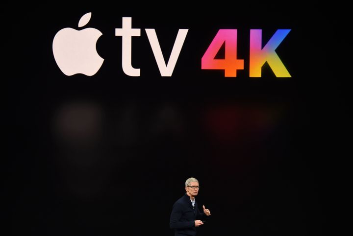 Apple CEO Tim Cook speaks about Apple TV during a media event at Apple's new headquarters in Cupertino, California on Septemb