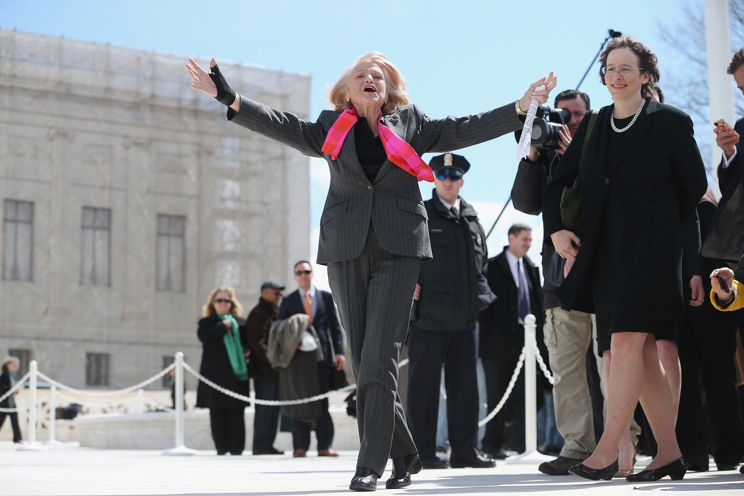 WASHINGTON, DC - MARCH 27:  Edith Windsor, 83, acknowledges her supporters as she leaves the Supreme Court March 27, 2013 in Washington, DC. The Supreme Court heard oral arguments in the case 'Edith Schlain Windsor, in Her Capacity as Executor of the Estate of Thea Clara Spyer, Petitioner v. United States,' which challenges the constitutionality of the Defense of Marriage Act (DOMA), the second case about same-sex marriage this week.  (Photo by Chip Somodevilla/Getty Images)