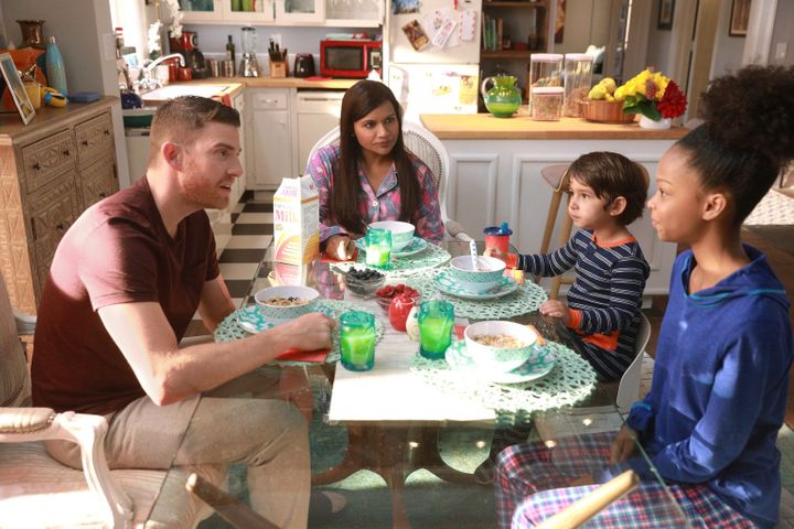 "A still from ""Is That All There Is?"", Episode 601, featuring Dr. Mindy Lahiri (Mindy Kaling), Leo (Elias Janssen),"