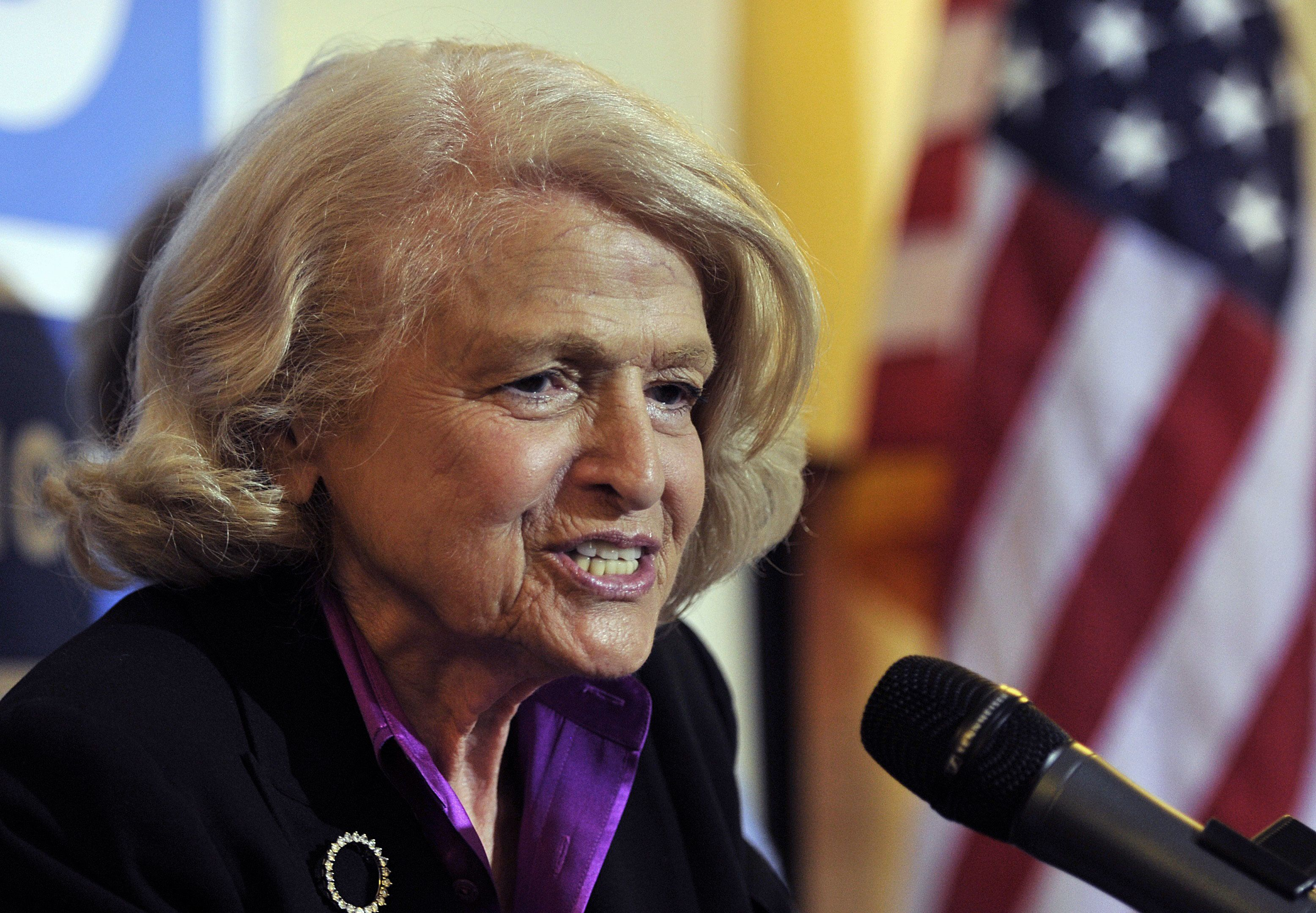 Defense of Marriage Act plantiff Edith 'Edie' Windsor Edith speaks at a press conference at the The Lesbian, Gay, Bisexual and Transgender Community Center in New York on June 26, 2013.  The US Supreme Court on Wednesday struck down a controversial federal law that defines marriage as a union between a man and a woman, in a major victory for supporters of same-sex marriage.The Defense of Marriage Act (DOMA) had denied married gay and lesbian couples in the United States the same rights and benefits that straight couples have long taken for granted.    AFP PHOTO / TIMOTHY CLARY        (Photo credit should read TIMOTHY CLARY/AFP/Getty Images)